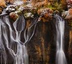 A beautiful close-up of Hraunfossar Falls in western Iceland by Borgarfjörður Fjord.