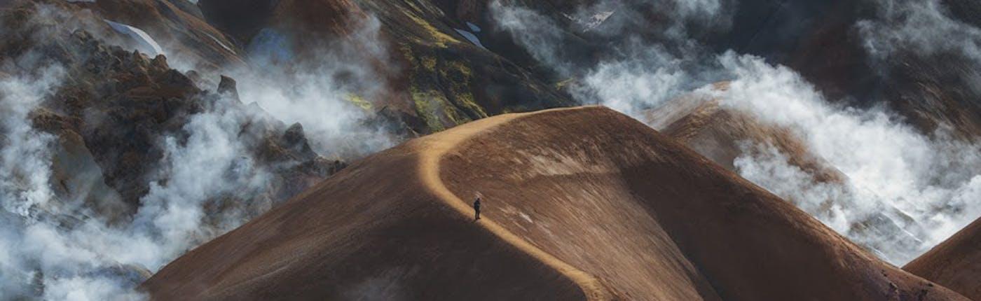 아이슬란드 고원지대 케르린가르피욜에서의 하이킹