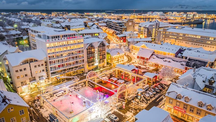 Ice skating rink in downtown Reykjavík during Christmas time