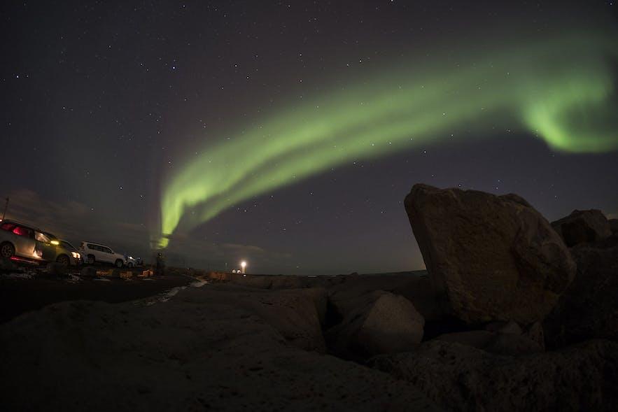 Nordlichter über der Halbinsel Seltjarnarnes