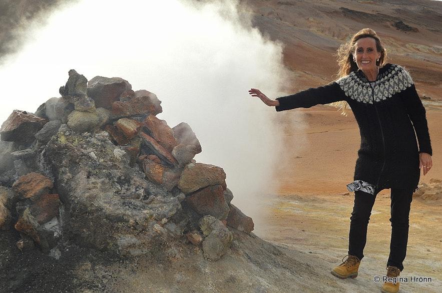 Regína by a borhole at Hverarönd geothermal area