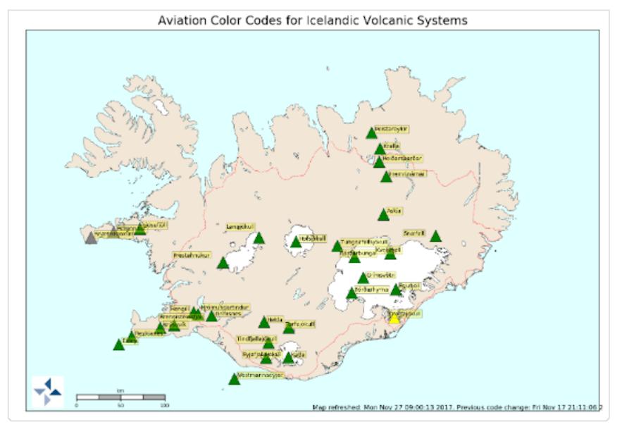 冰島火山預報網頁截圖