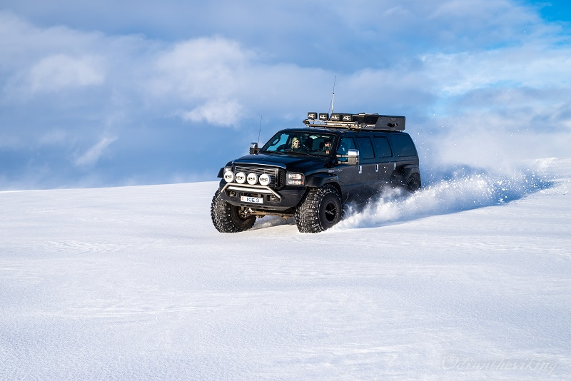 A Super Jeep roaring across Langjökull glacier, the second largest ice cap in the country.