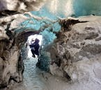 In Vatnajökull National Park, you can take a tour where you'll visit a beautiful ice cave.