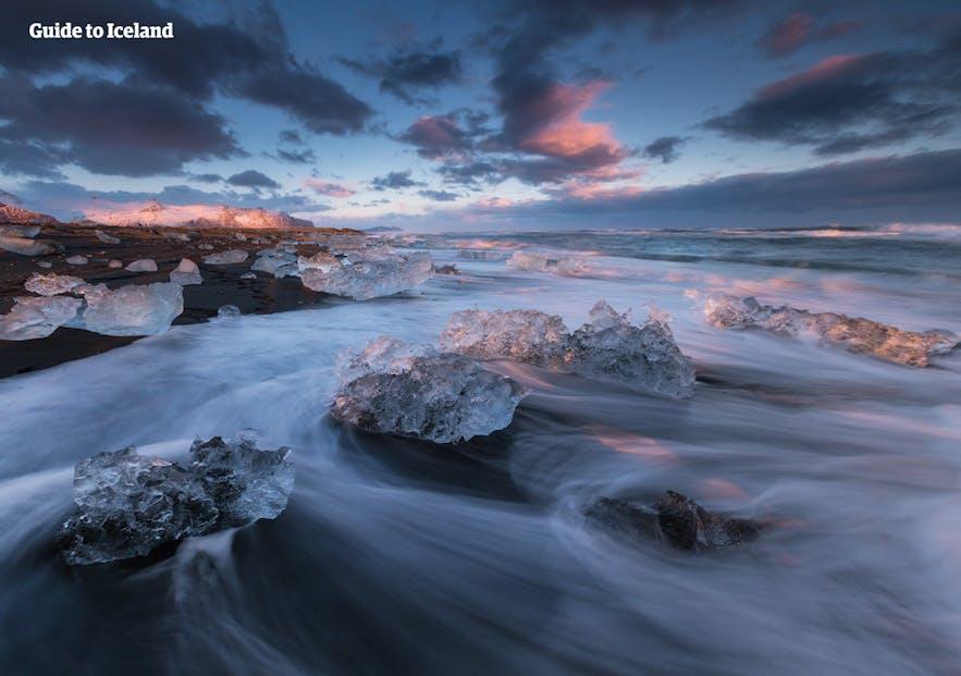 冰岛钻石冰沙滩,浪漫的求婚地点