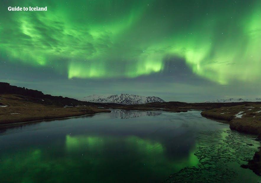 Nordlichter in Island spiegeln sich wunderschön im Wasser
