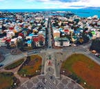 The colourful roofs of Reykjavík's houses are best viewed from above.