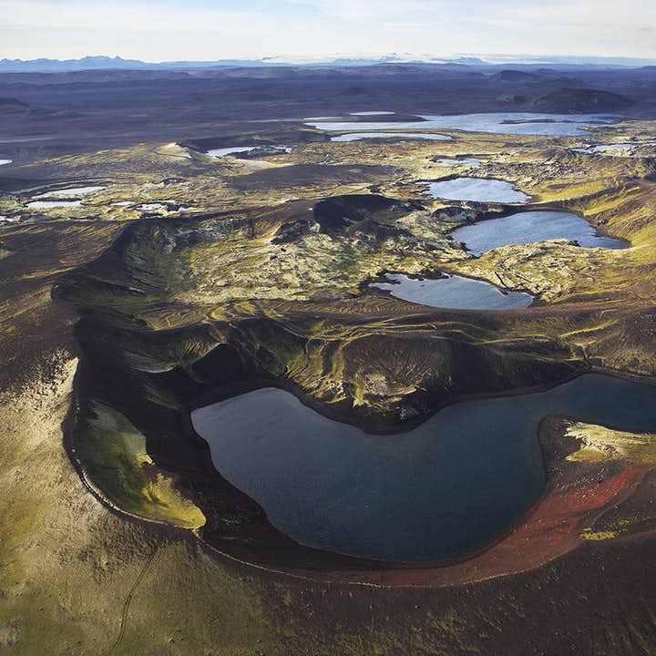 The Highlands of Iceland around Landmannalaugar region are dotted with beautiful crater lakes.