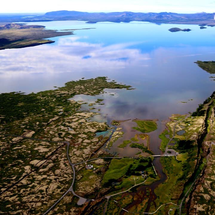 Þingvallavatn is the largest lake in Iceland, located in Þingvellir National Park on the Golden Circle route.