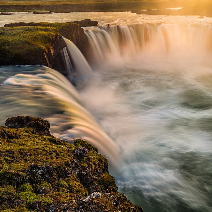 In 1000 AD, Iceland converted to Christianity when the law speaker threw idols of the Old Gods into Goðafoss Waterfall in North Iceland.