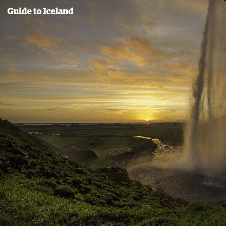 The sun sets on the South Coast; what better way to see it than behind Seljalandsfoss waterfall.