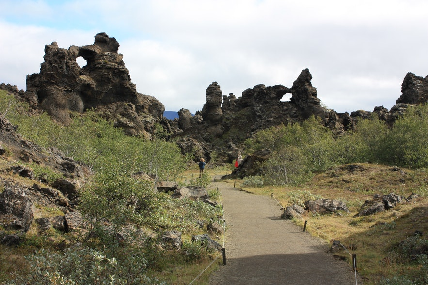 Dimmuborgir, or Dark Cities, in north Iceland have great hiking trails