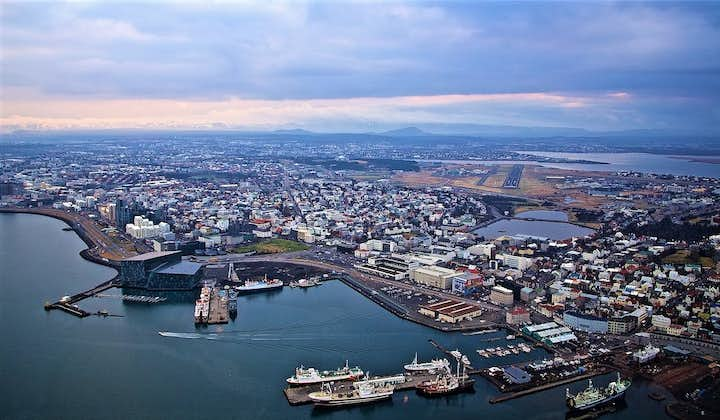The Reykjavík centre and old harbour area as seen from above in a helicopter.