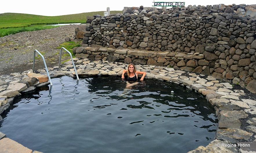 Regína in Grettislaug geothermal pool North-Iceland
