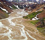 The colourful mountains and rivers of the Landmannalaugar region in the Highlands of Iceland.