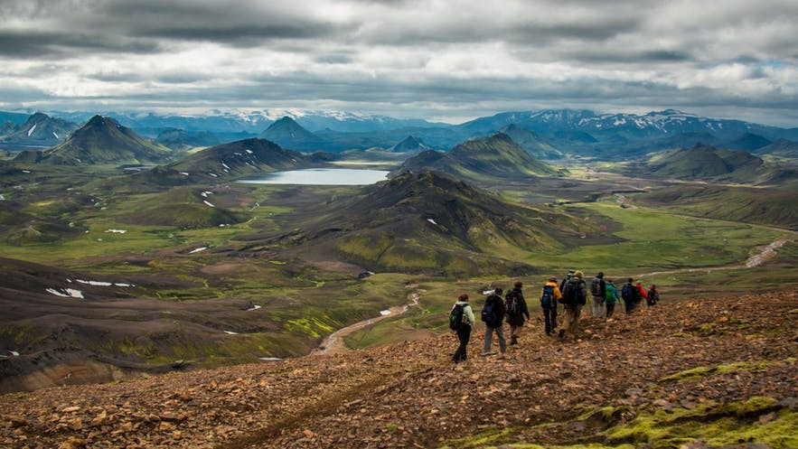 Hiking the trails of Landmannalaugar is a popular activity in the summer months.