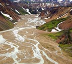 Landmannalaugar in the Icelandic Highlands are truly spectacular from above when having booked a helicopter tour.