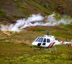 A helicopter flight-seeing adventure in Iceland includes numerous landings at fascinating locations, such as geothermal active areas.