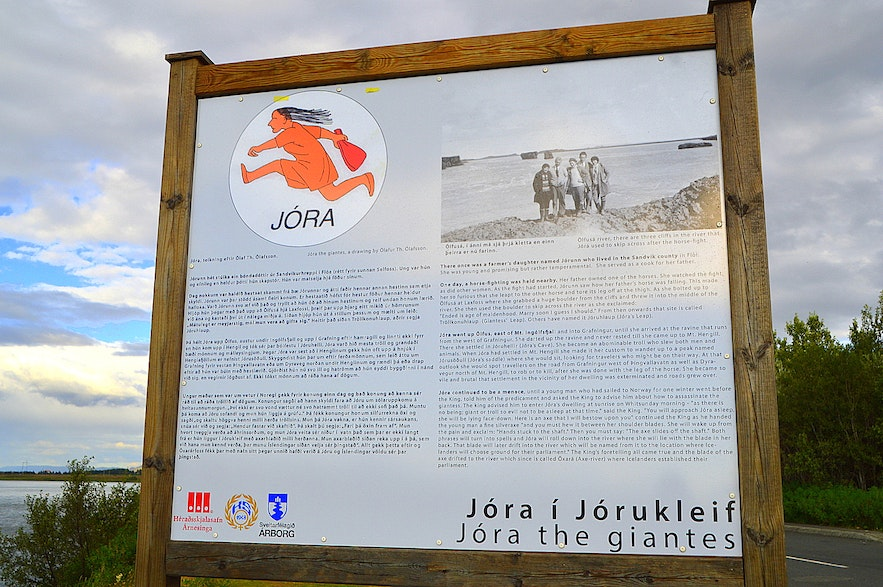 The information sign by Ölfusá river tells us about Jóra the giantess
