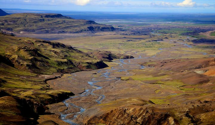 The Highlands of Iceland and their wide stretches of untouched scenery are especially enjoyable from aboard a flying helicopter.