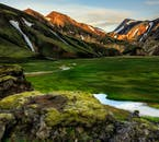 Landmannalaugar in the Highlands of Iceland consist of green fields, rhyolite mountains and hot springs.