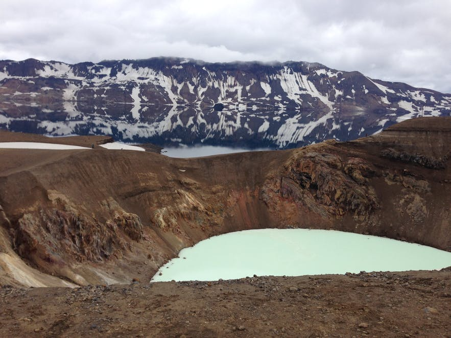 Askja caldera and Víti crater in the Icelandic highlands are accessible from lake Mývatn