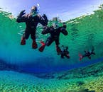 You'll be amazed by the many shades of blue you see beneath the water surface at Silfra.