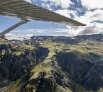 From the aircraft, you will have fantastic, panoramic views of the landscape below.