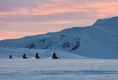Midnight Sun & Snowmobile | Langjokull Glacier