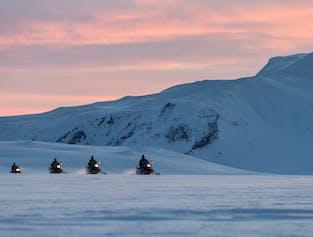 Midnight Sun & Snowmobile   Langjokull Glacier