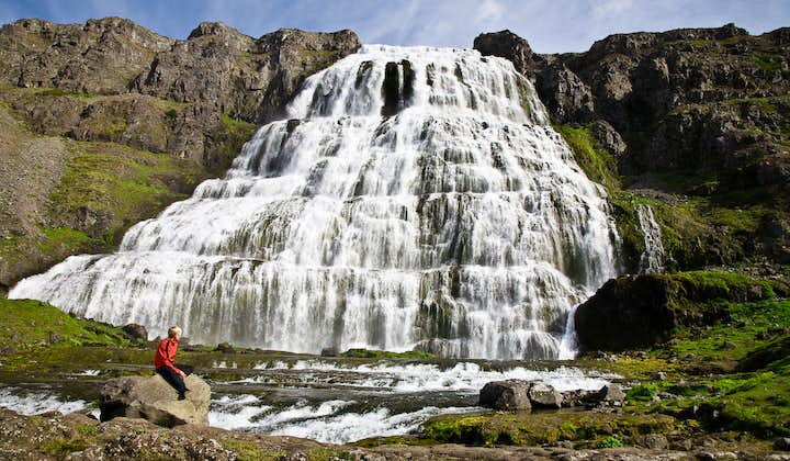On this tour of the Westfjords, you'll see the magnificent Dynjandi waterfall.