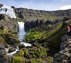 On a tour of the Westfjords, you'll visit the 100 metre high waterfall Dynjandi.