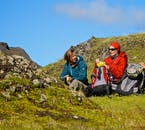 The weather is smiling on these backpackers embarking on a hiking tour in the Highlands of Iceland.
