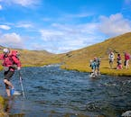 When hiking through the Highlands of Iceland, trekkers must often cross rivers to make their way across the unpaved landscape.