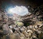 The north-end opening of lava tube Víðgelmir Cave, located in West Iceland's Borgarfjörður.