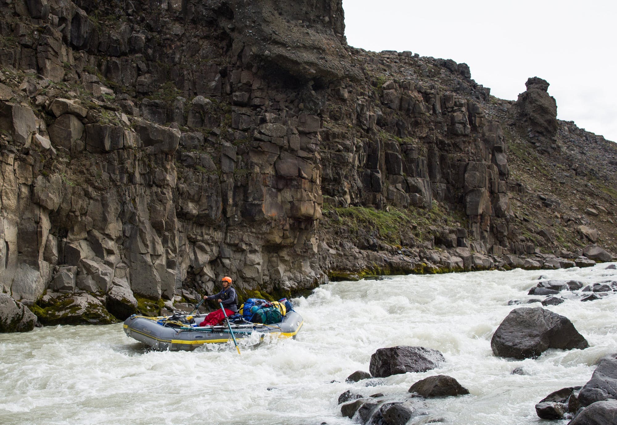Rafting in the East Glacier River in Iceland's summer.