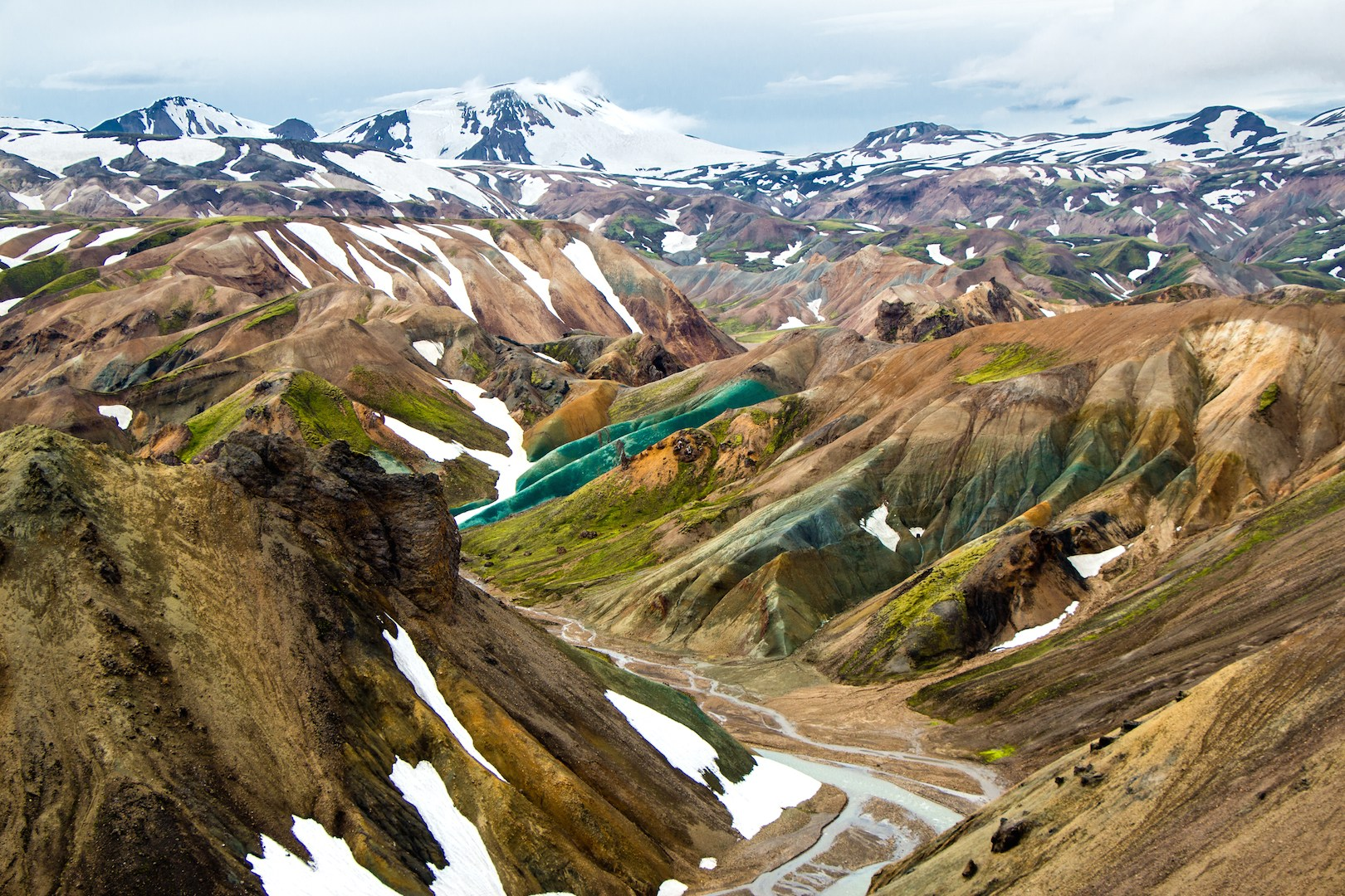 You'll hike through the stunning Landmannalaugar area on a hiking tour of the Highlands