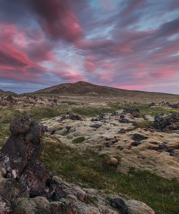 夏季冰岛风光:日不落、苔藓熔岩地貌