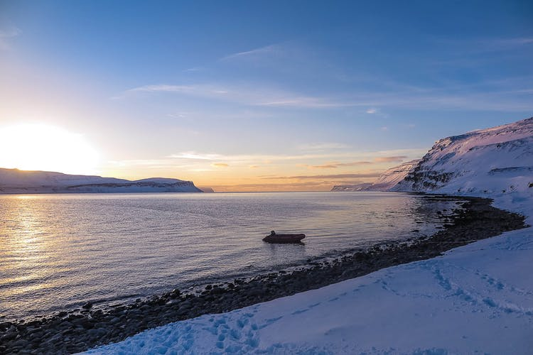 A zodiac will take you to the best ski slopes around the Westfjords.
