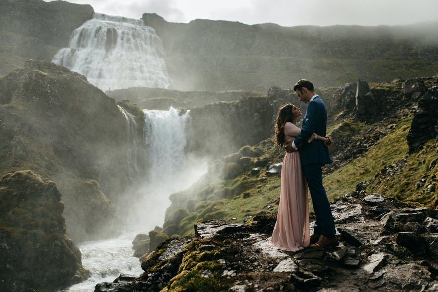 Stunning wedding photo from Dynjandi waterfall in Iceland's Westfjords