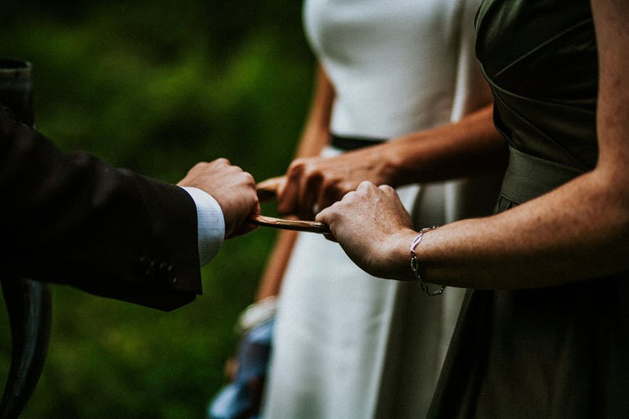 Wedding vows being said in an Icelandic Pagan Nordic Religion style