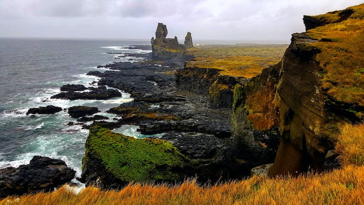 Snæfellsnes Peninsula is filled with diverse natural attractions, from lava fields to glaciers and black beaches