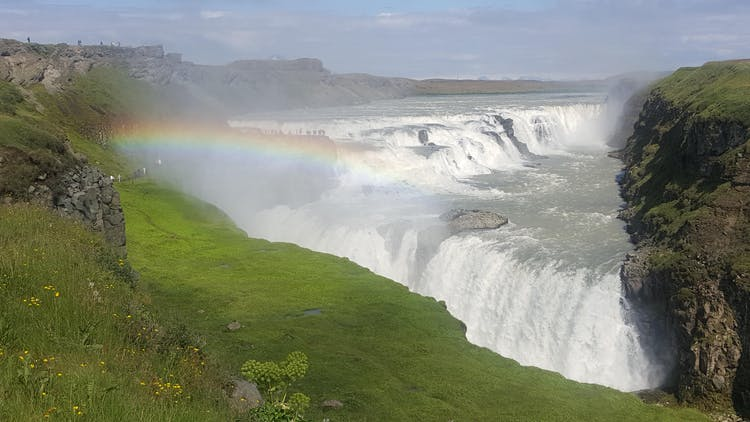 The roaring waterfall Gullfoss is one part of the famed Golden Circle