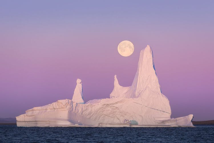 The midnight sun during the summer season in Greenland makes for unique lighting conditions.