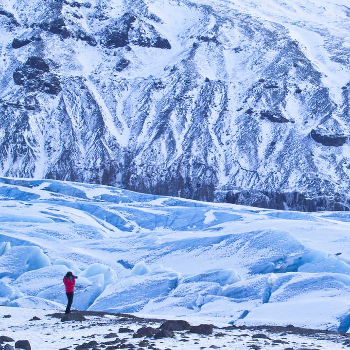 Walk on the white expanse of a glacier on this 10-day circle of Iceland tour.
