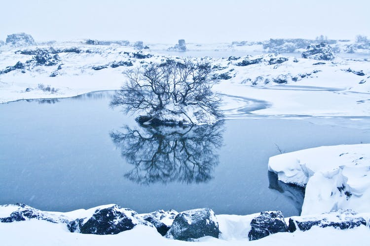 See the frozen environment of Lake Mývatn on this 10-day circle of Iceland tour.