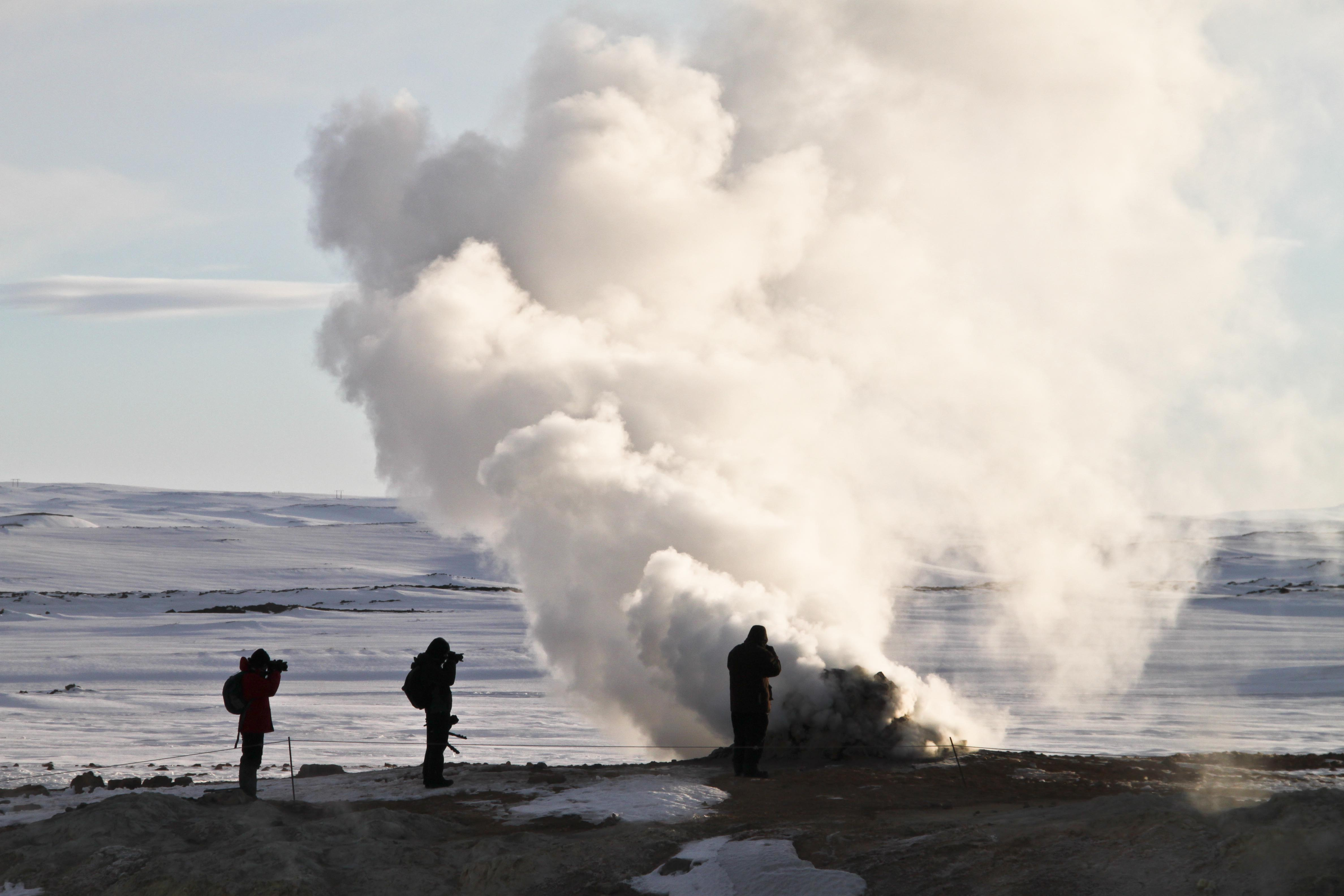 Visit Námaskarð geothermal area near Lake Mývatn on your 10-day winter adventure.