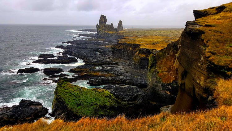 Snæfellsnes Peninsula is filled with jagged cliffs, mighty mountains and a glacier that covers a volcano.