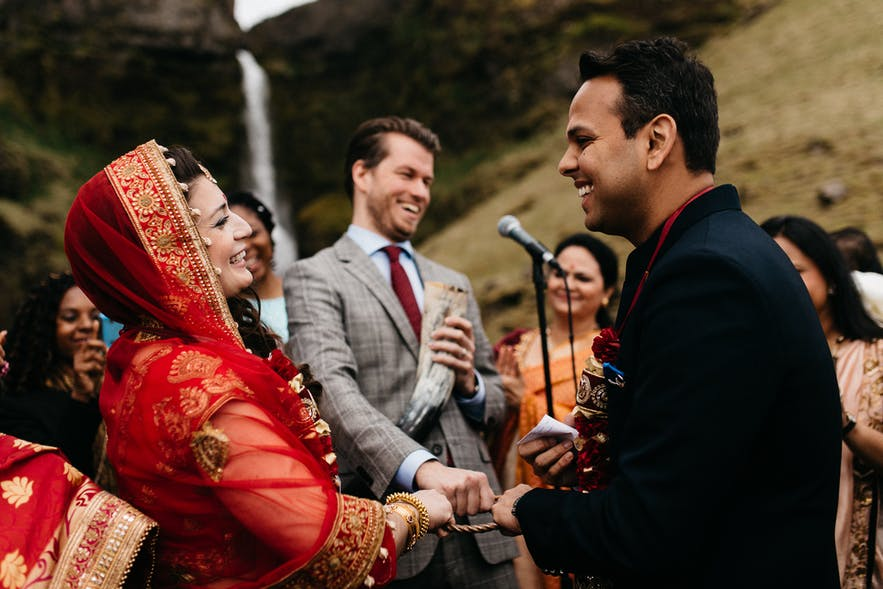 Multicultural wedding in Iceland's nature