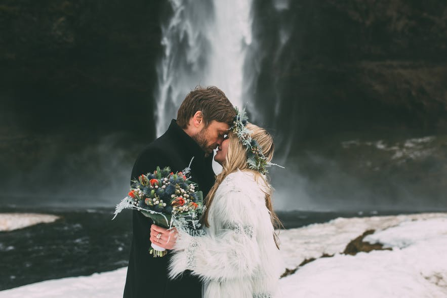 Make sure you wear something warm for a winter wedding in Iceland!